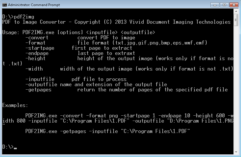 PDF to Image Converter command line version